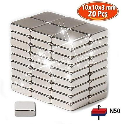 Imanes de nevera de neodimio N50 (20 piezas) | 10 x10 x 3mm ...