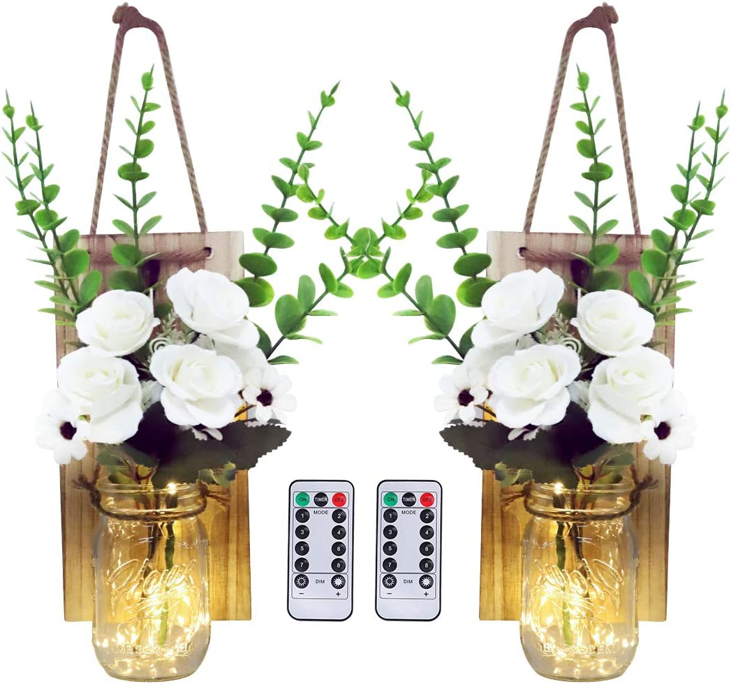 Garma Farmhouse Decorative Mason Jar Decorations with 6-Hour Timer LED Fairy Lights and Flowers - Rustic Wall Decor Home Decoration - Country Decor for the Home Dining living Room(Set of 2)