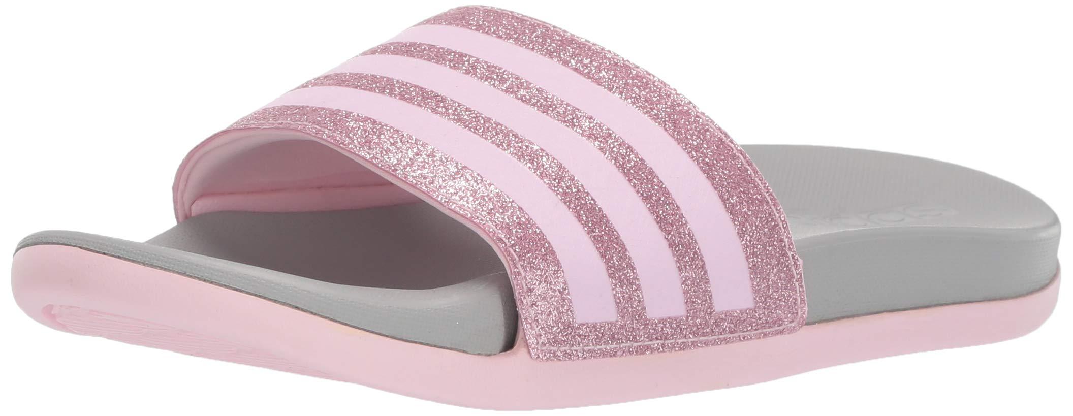adidas Girl's Adilette Comfort Sandal, Clear Pink/Grey, 10 Medium US Little Kid