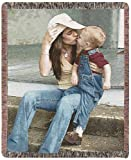 """Full Color Photo Throw Woven Blanket 50"""" x 60"""" made custom from your photo. Soft 100% woven cotton fabric makes a nice warm keepsake gift personalized with your photo"""
