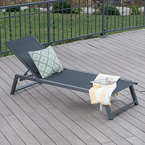 Mesa Outdoor Black Mesh Chaise Lounge with Grey Finished Aluminum Frame