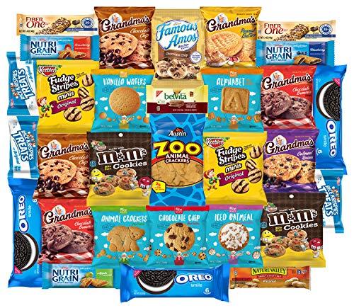 Cookies Variety Pack, Crackers & Snacks Care Package Bundle Includes Grandmas Cookies, Oreos, Chips Ahoy, Rice Krispies, Keebler & More Bulk Sampler by Variety Fun (30 Count)]()