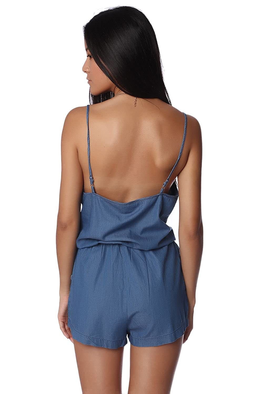 Q2 Women's Dark chambray drawstring romper with elastic waist