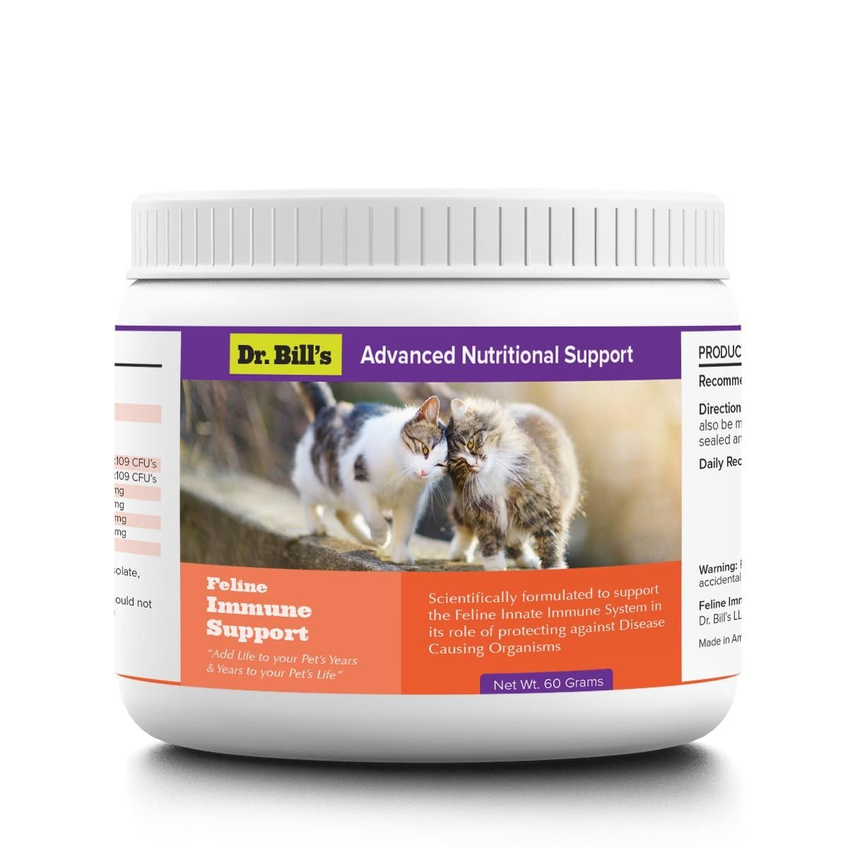 Dr. Bill's Feline Immune Support | Pet Supplement | Supports the Innate Immune System | Includes Colostrum, Lactoferrin, Beta Glucan, Vitamin C, CoQ10, Bifidobacterium, and Zinc | 60 Grams by Dr. Bill's