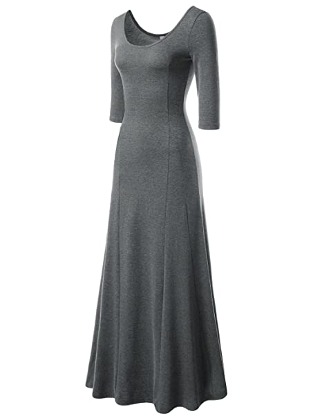 NEARKIN Beloved Womens Scoop Neck Slim Cut Stretchy Maxi Dress