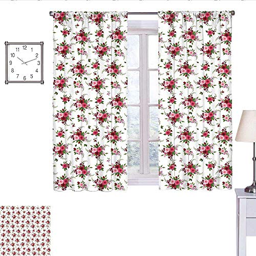 alisoso Flowers Kitchen Curtain Bridal Bouquets Pattern with Roses and Freesia Romantic Victorian Composition Curtain Holdback Pink Ruby Green W55 x L63 ()