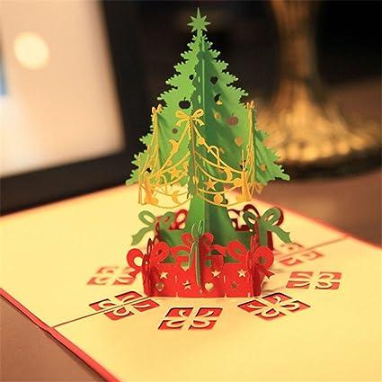 Amazon mexud merry christmas tree 3d pop up paper handmade mexud merry christmas tree 3d pop up paper handmade greeting card for xmas christmas gift m4hsunfo