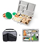 PlanetBox ROVER Eco-Friendly Stainless Steel Bento Lunch Box with 5 Compartments for Adults and Kids - Black Pearl Carry Bag