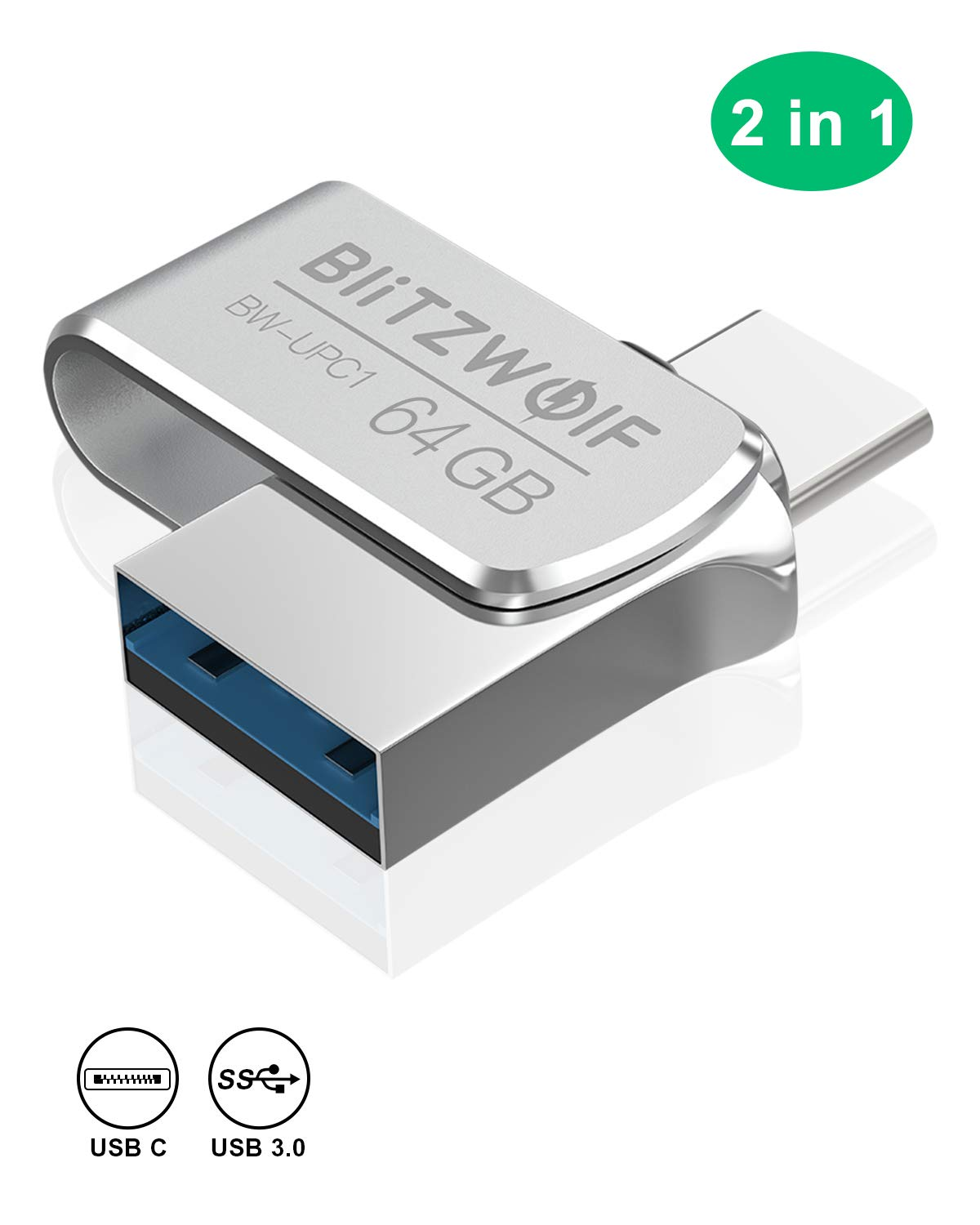 64GB Chiavetta USB, BlitzWolf Pendrive USB3.0 + Type-C Flash Drive