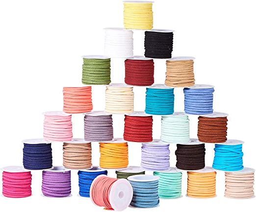 Suede Cord Faux Leather Lace Stringing Craft Jewelry 3mm X 1.5mm You Pick Color