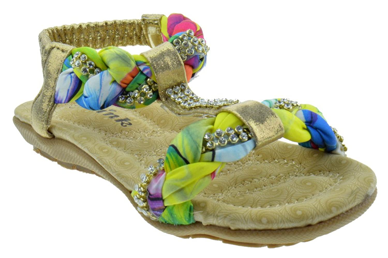 Calista 34K Little Girls Gladiator Braided Rhinestone Comfort Flat Sandals Gold