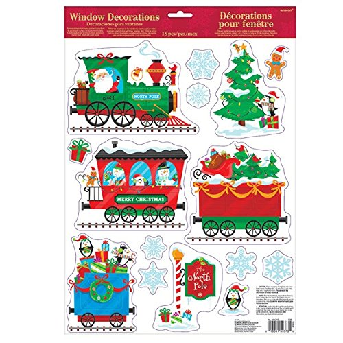 Amscan Holiday Cheers Christmas Party Christmas Train Window Decoration, Multicolor