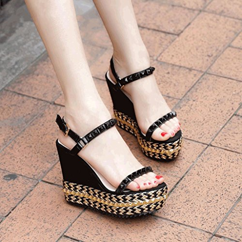 black Black Shoes High Bottom Size 36 Summer Thick Wedge Sandals Heels Banquet Open Fashion Studded Platform Toe Color Waterproof wUY4Zp