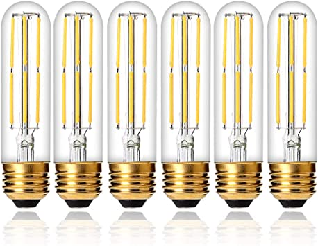 T10 Dimmable Vintage Glass Edison LED Bulbs Daylight 6000K 4 Packs for Home or Commercial Decoration Kitchen Living Room Luxvista 6W E26 Tubular Edison Bulb 60 Watt Equivalent