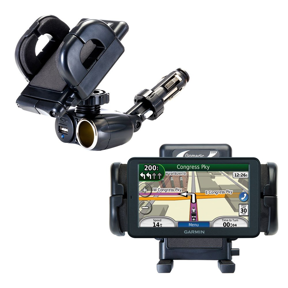 2 in 1 USB Port and 12V Receptacle Mount Holder for the Garmin dezl 560 560LT 560LMT Keeps Your Device Secure in Any Car or Truck