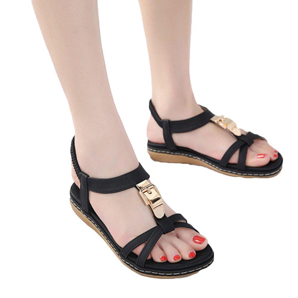 Yuan Women Flat Shoes,Ladies Fashion Bohemia Lady Girls Metal Buckle Sandals Outdoor Shoes