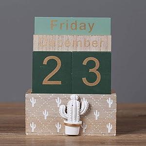 Perpetual Calendar, Buery Wooden Calendar Block Calendar Vintage Wood Block Calendar for Home Office Desk Accessories (Green)
