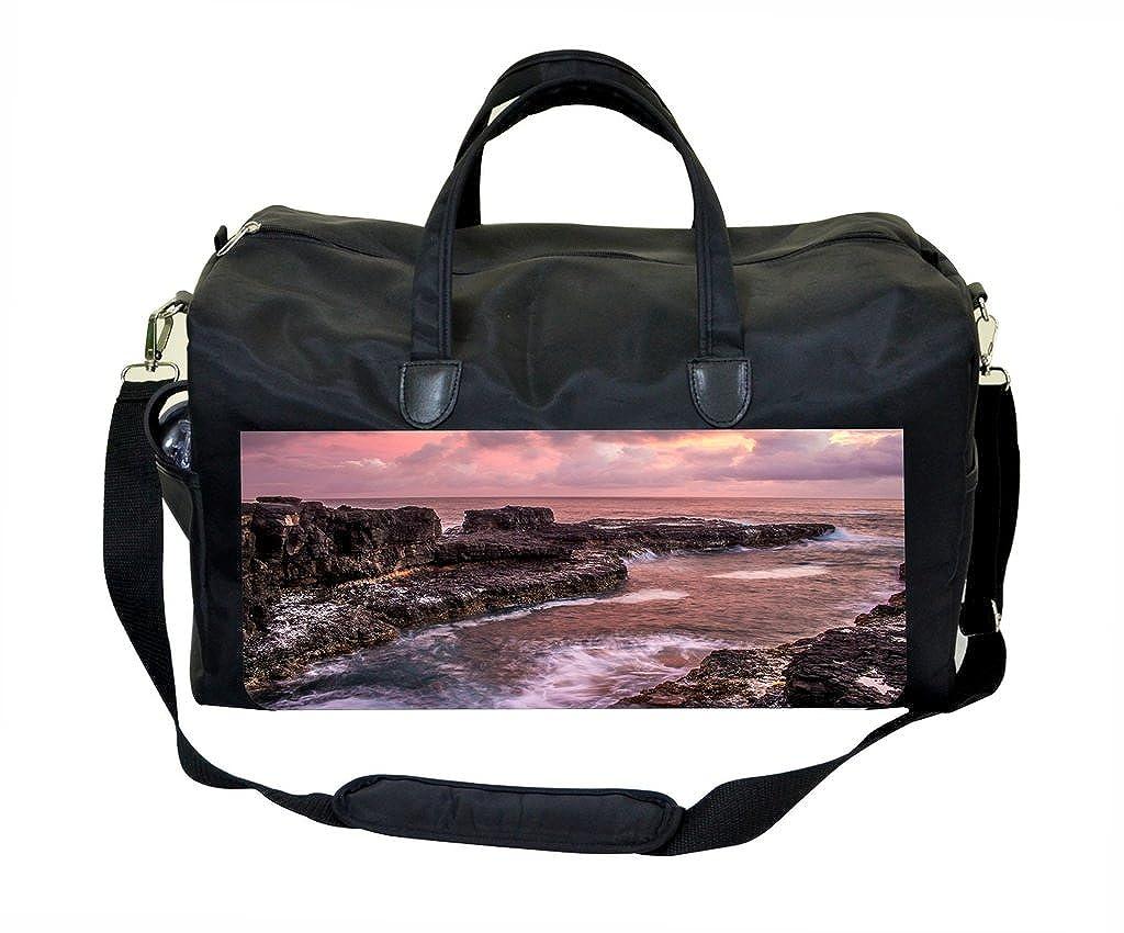 Pink Waves and Rocks Sunset Print Gym Bag