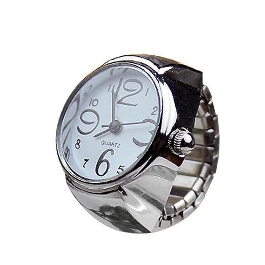 Logobeing Dial de Reloj Analógico de Cuarzo Creative Steel Cool Reloj Anillo Elástico Pulsera (Blanco