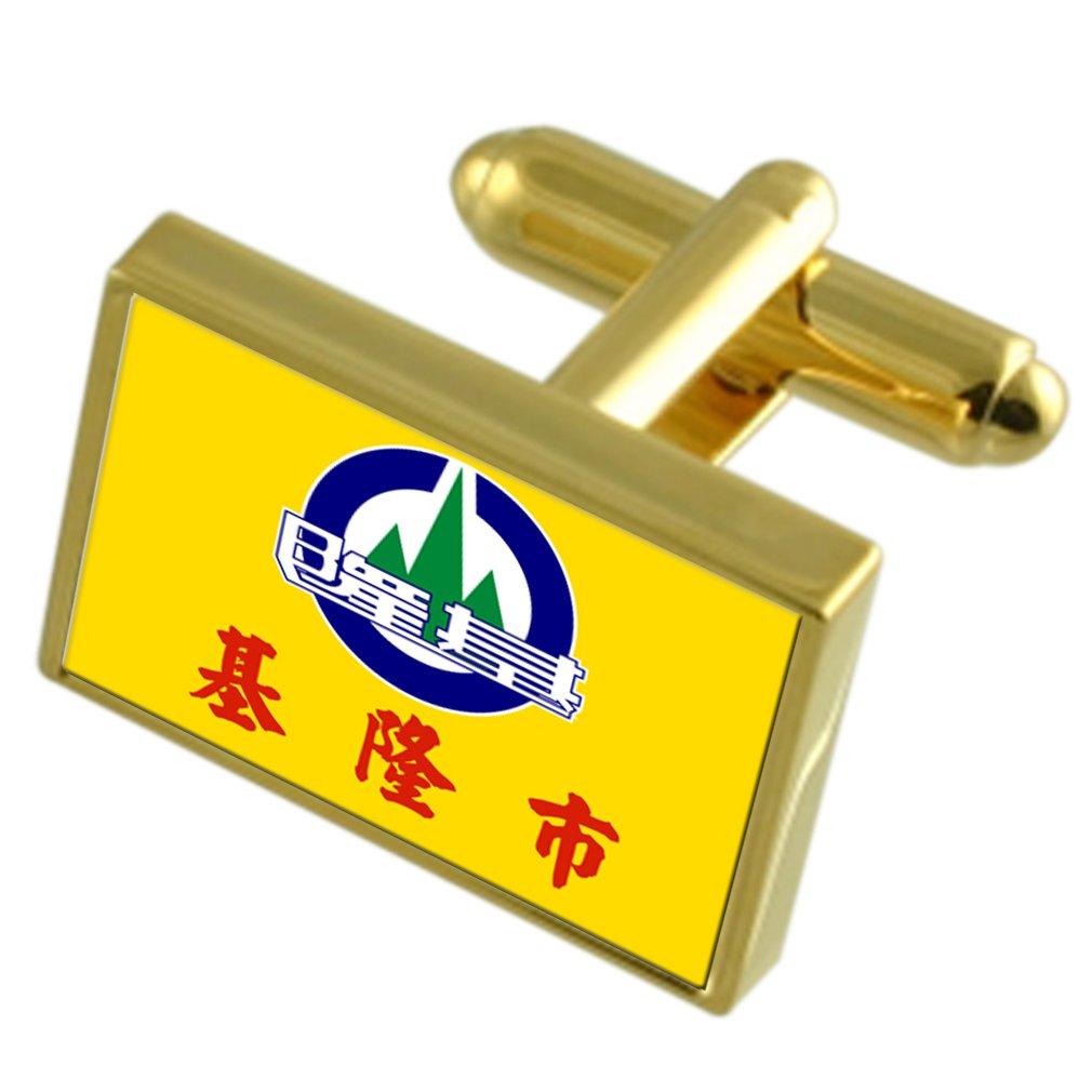 基隆市台湾金フラグ Cufflinks 刻まれたボックス   B0713MYLWR