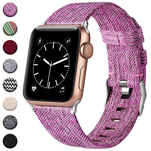 (Haveda Bands Compatible with Apple Watch Band 42mm 44mm, Woven Fabric Canvas Wrist Band for Women Men with iWatch Series 4 Series 3/2/1, Sakura Purple)