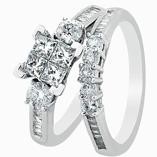 Amazon.com: Diamond Bridal Set 10K White Gold Engagement Ring / Wedding  Ring Set Princess Cut White Gold 10k 2pc Set (1.00cttw, I2/i3, ...