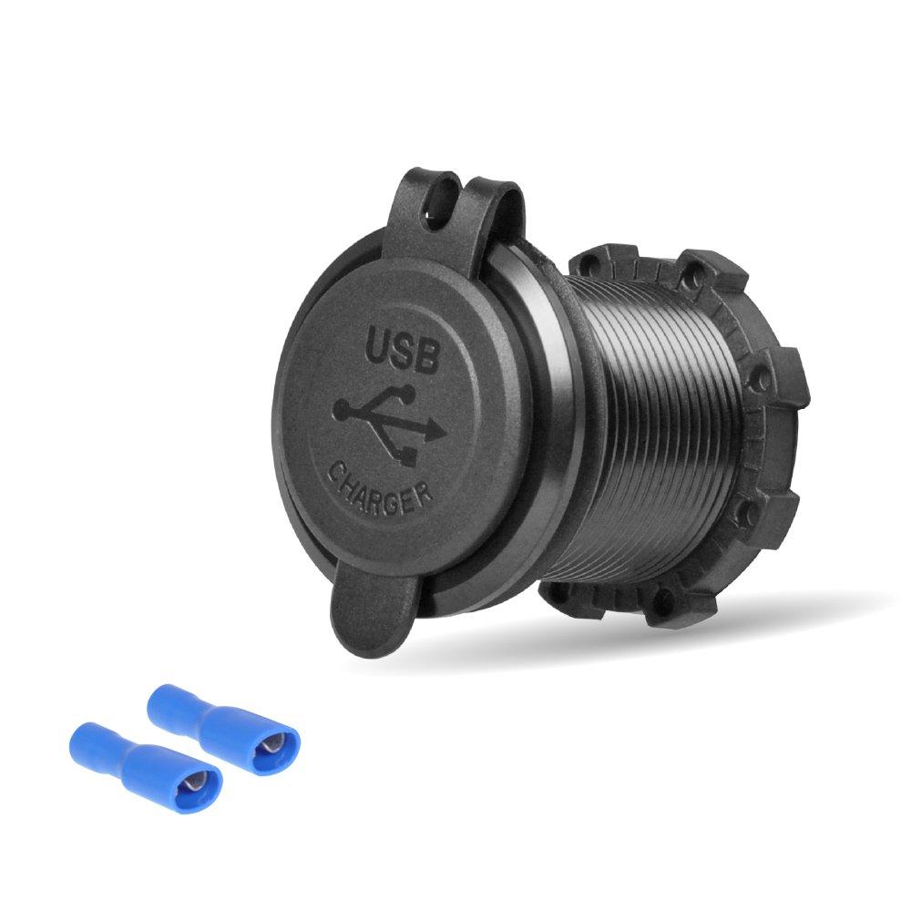 Rydonair Aluminum 4.2A Dual USB Charger Socket Power Outlet 2.1A & 2.1A for Marine, Boat, Car, Golf Cart, RV,UTV, ATV, etc (Non Illuminated)
