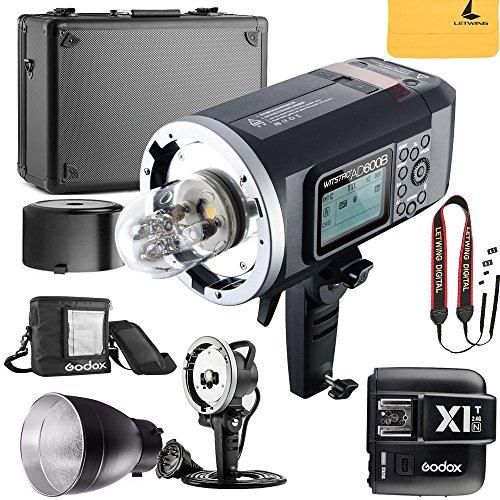 Godox AD600B 600w TTL Portable Outdoor Studio Strobe Flash Head Bowen mount + AD-H600B Head + PB-600 Bag + CB-09 Suitcase Carry Bag +Godox X1T-N Transmitter For Nikon + LETWING Camera Neck Strap