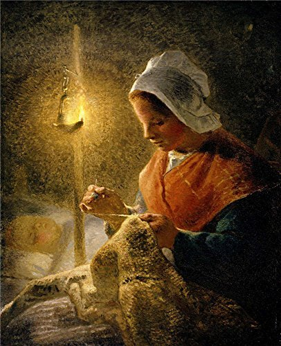Jeans Darling Embroidered - The High Quality Polyster Canvas Of Oil Painting 'Jean-Francois Millet - Woman Sewing By Lamplight, 1870-72' ,size: 24x30 Inch / 61x75 Cm ,this Beautiful Art Decorative Canvas Prints Is Fit For Nursery Gallery Art And Home Decor And Gifts