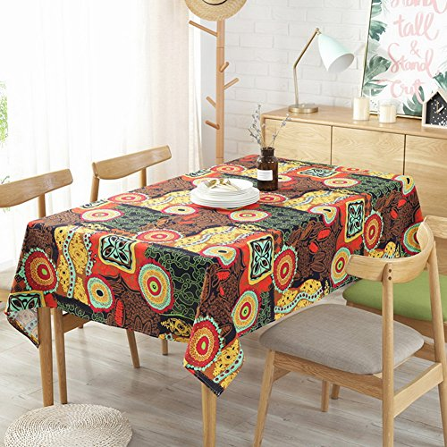 98 x 55 Inch Table Cloth Cotton Linen Fabric Table Cover Tablecloth for Summer Barbecue Outdoor Picnics and Kitchen Dining Room
