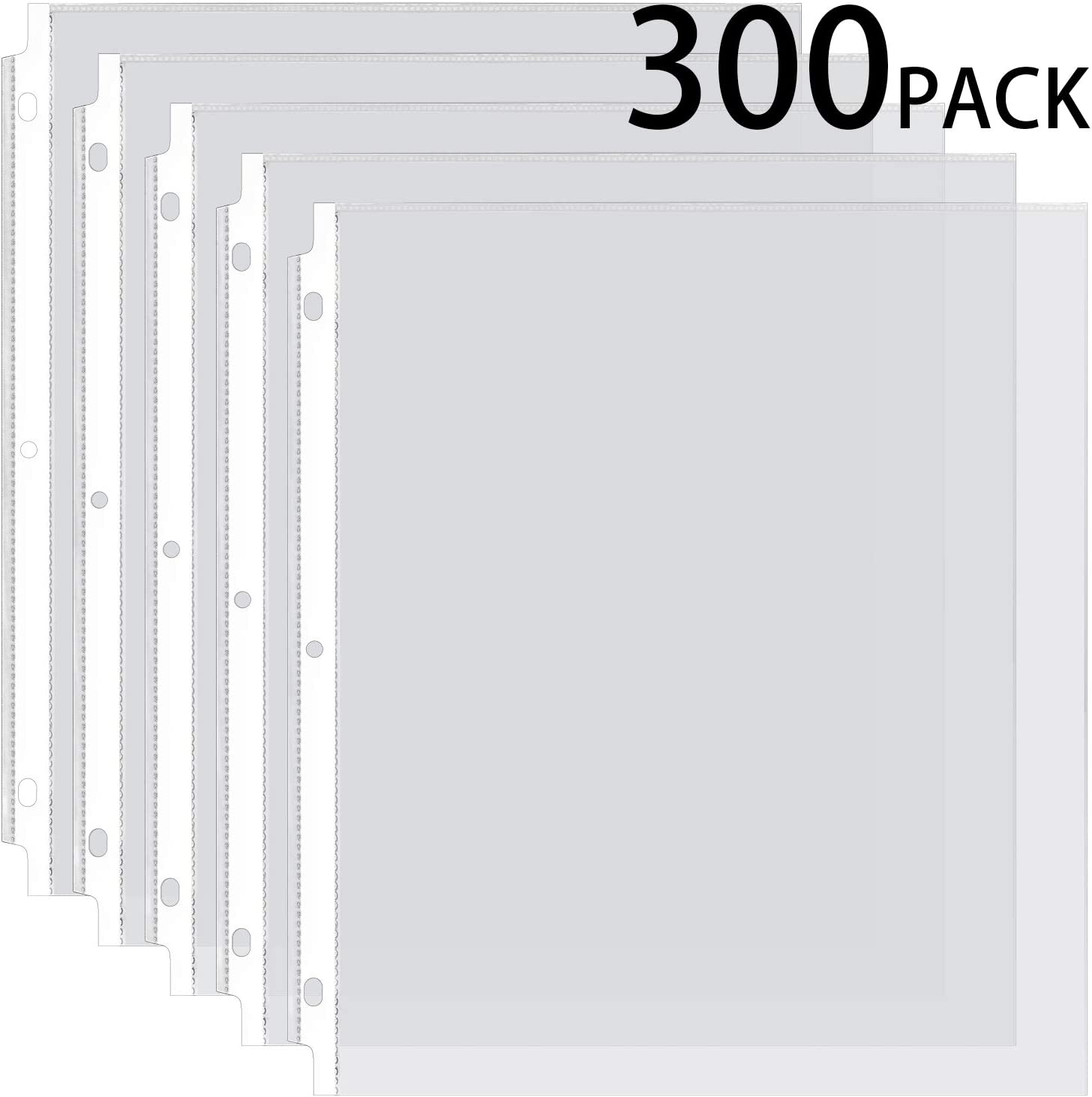 Ktrio Sheet Protectors 8.5 x 11 Inches Clear Page Protectors for 3 Ring Binder, Plastic Sleeves for Binders, Top Loading Paper Protector Acid Free Letter Size, 300 Pack