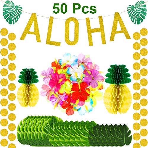 50 Pieces Hawaiian Party Decorations Large Glitter Aloha Banner, Tropical Palm Leaves for Hawaiian Aloha Party Decorations, Hibiscus Flowers Tissue Paper Pineapples for Tropical Luau Party Supplies]()