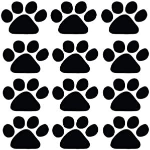 Design with Vinyl CK-Decal-40-272 Decor Item Cat Dog 12 Animal Paw Prints Picture Art Peel and Stick Vinyl Wall Decal Sticker Sheet, 15-Inch x 12-Inch, Black