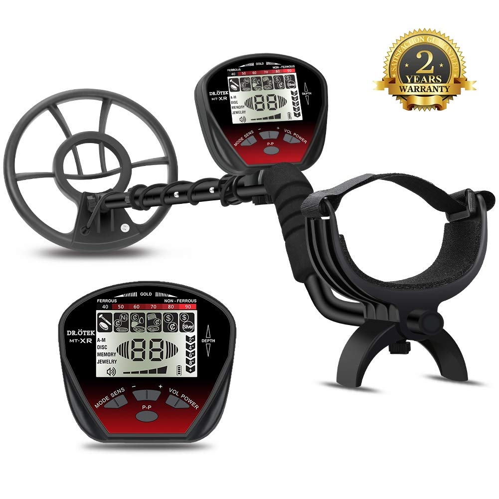 DR. TEK Lightweight Metal Detector with Graphic Display, Multi-Function with Pinpointer, Easier to Find Valubles, Big Waterproof Coil for Greater Depth with Backlit LCD, Innovative Memory Mode