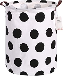 Extra Large Canvas Laundry Hamper Collapsible Storage Bin 19.7x15.7 Inch, ZUEXT Waterproof Cotton Linen Fabric Foldable Organizer Clothes Laundry Baskets for Kids Nursery Bedroom (Black Circle)