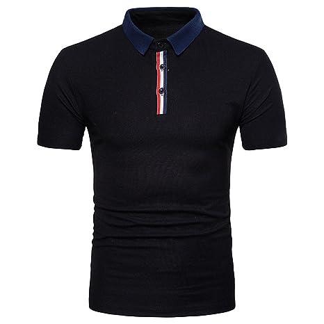 Zip de Hombres Camiseta DE Manga Corta Polo,Negro,m: Amazon.es ...