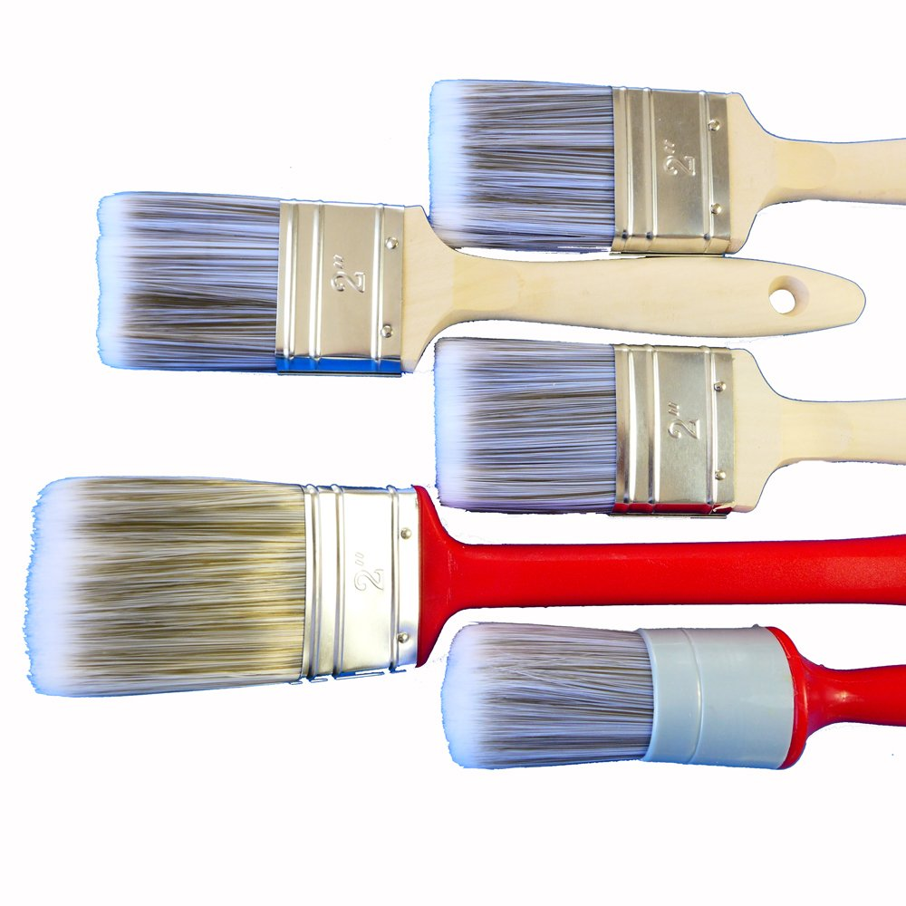 Rotix 97002 Pincel de barniz de 5 piezas | 3 Pincel Plano Tamañ o 50 mm | Radiador Pinceles 50 mm | Anillo tamañ o 10 | beiz Pincel