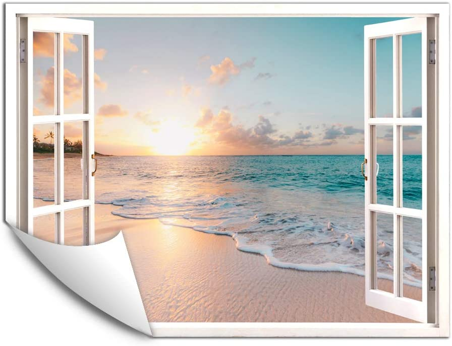 IDEA4WALL Wall Murals for Bedroom Fake Window Beach White Window Removable Wallpaper Peel and Stick Wall Stickers - 36x48 inches