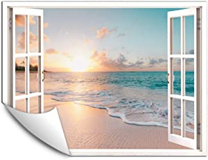 IDEA4WALL Wall Murals for Bedroom Fake Window Beach White Window Removable Wallpaper Peel and Stick Wall Stickers - 24x32 inches