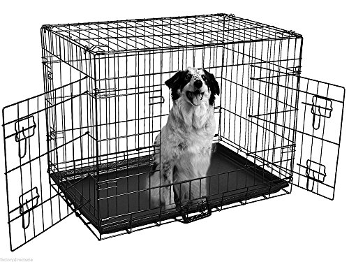 42'' Double Door Heavy Duty Wire Folding Pet Crate Dog Cat Cage Suitcase Kennel Playpen w/ Tray - Midland In Shops Gate