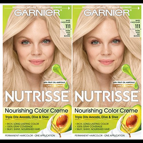 Garnier Hair Color Nutrisse Nourishing Creme, 111 Extra-Light Ash Blonde (White Chocolate), 2 Count