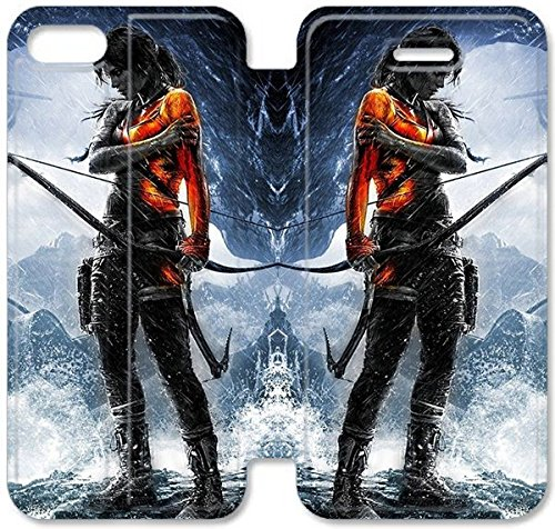 Flip étui en cuir PU Stand pour Coque iPhone 5 5S, bricolage 5 5S cellulaire Phone Coque Case Rise Of The Tomb Raider S9L6FG Mickey Mouse Coque iPhone Leather Coque Case