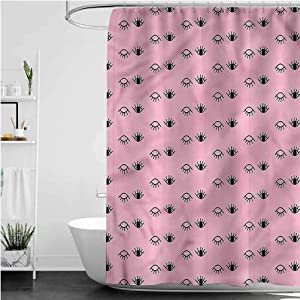 Interestlee Pink Floral Shower Curtain Tribal Culture Waterproof Summer Bath Decor, 108 x 72 Inch