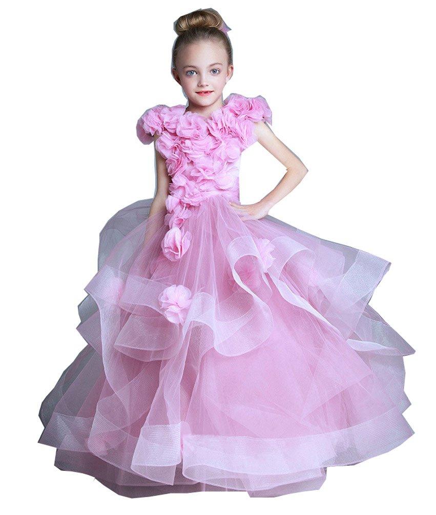 Kelaixiang Pink Formal Princess Ball Gown Flower Girls Dress (5)