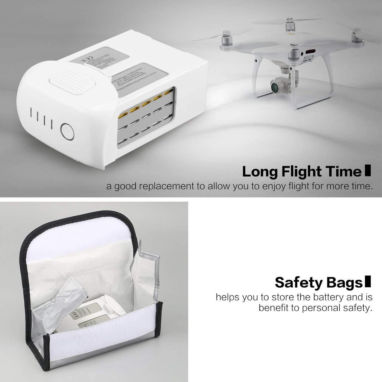 avanc/é Remplacement Intelligent de Batterie de LiPo de vol de Secours DE 15.2V 5870mAh avec Le Sac s/ûr pour Le Drone de DJI Phantom 4 4 Pro FPV