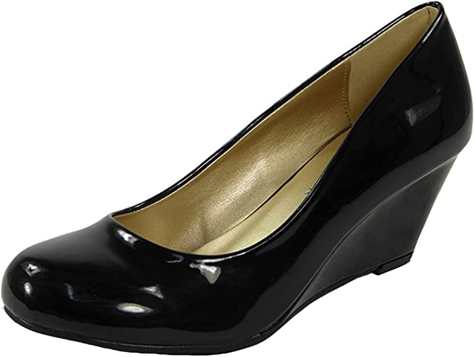 New Ladies//Womens Black Patent Low Heels Slip On Wedges//Shoes With Bow UK Size