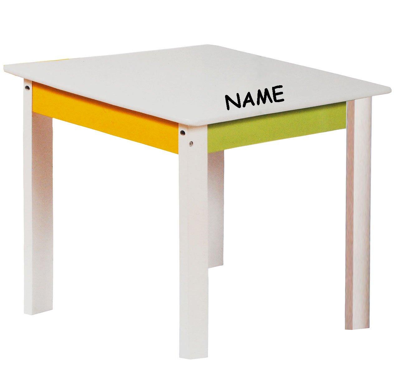 Kindertisch incl Kinderzimmer f/ür Circa 1 .. wei/ß // gr/ün // gelb Name aus sehr stabilen Holz Kinderm/öbel f/ür Jungen /& M/ädchen alles-meine.de GmbH 1 Tisch f/ür Kinder