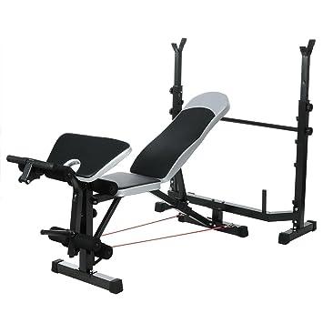 Befied Banco de pesas Banco de musculación Press Banca con Altura ajustable del soporte de brazos y 2 Cuerdas: Amazon.es: Deportes y aire libre