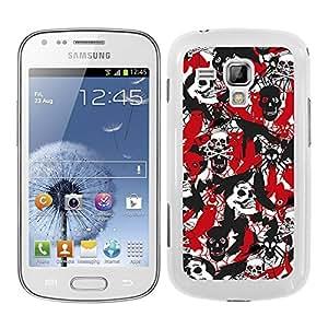 Funda carcasa para Samsung Galaxy Trend Plus estampado sticker bomb calavera rojo negro y blanco borde blanco