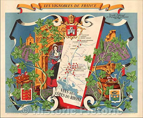 - Historic Map | Les Vignobles De France - Cote de Rhone wines/The Vineyards of France, 1954 | Vintage Wall Art 44in x 36in